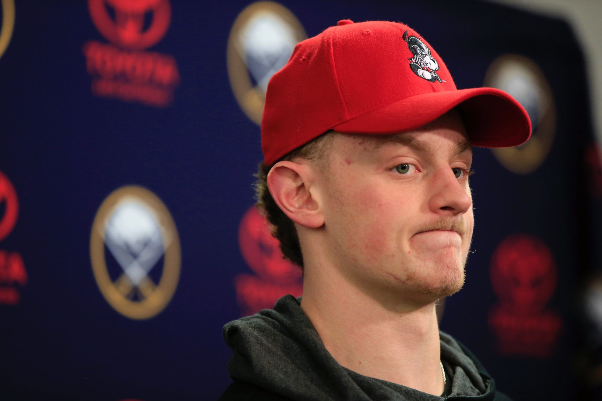Jack Eichel's face summed up the Sabres' 2016-17 season during the team's locker cleanout day. (Harry Scull Jr./Buffalo News)