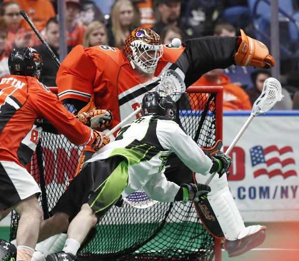 Dave DiRuscio makes the save for the Bandits against the Rush on Saturday night. (Photo by Harry Scull Jr. / Buffalo News)