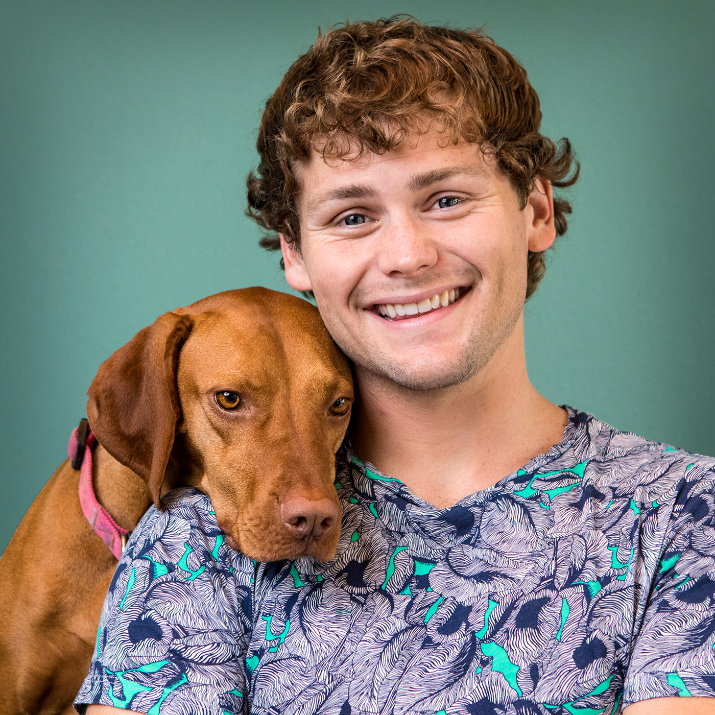 Comedian Drew Lynch, pictured with his dog, Stella, will perform five shows at Helium Comedy Club.