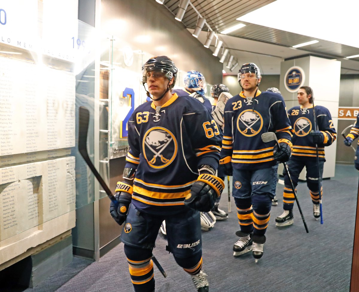 Tyler Ennis takes the ice prior to the Sabres' Fan Appreciation Night game (Harry Scull Jr./Buffalo News).