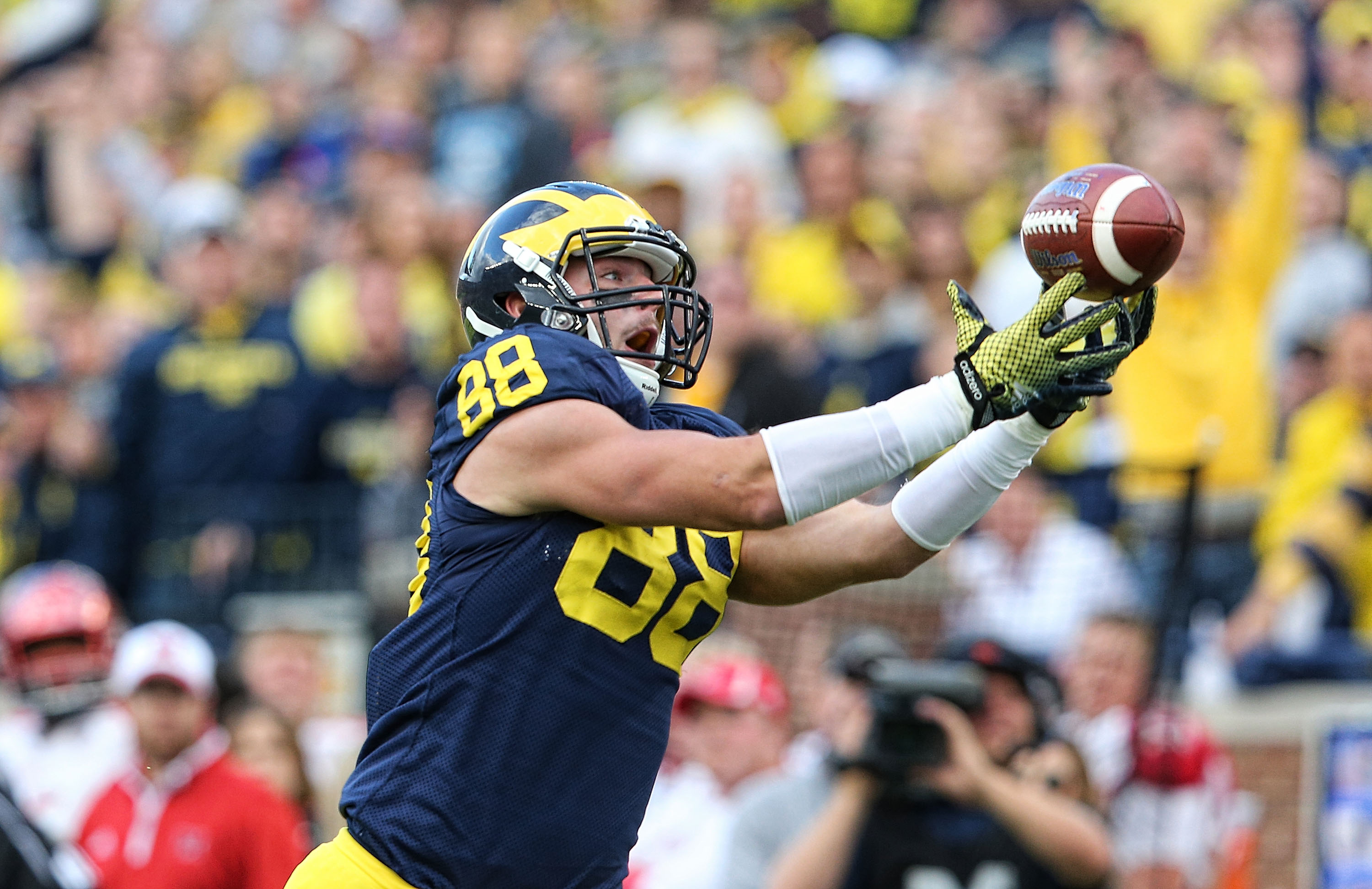 Michigan tight end Jake Butt would provide the Bills with a running mate to Charles Clay at the position. (Getty Images)