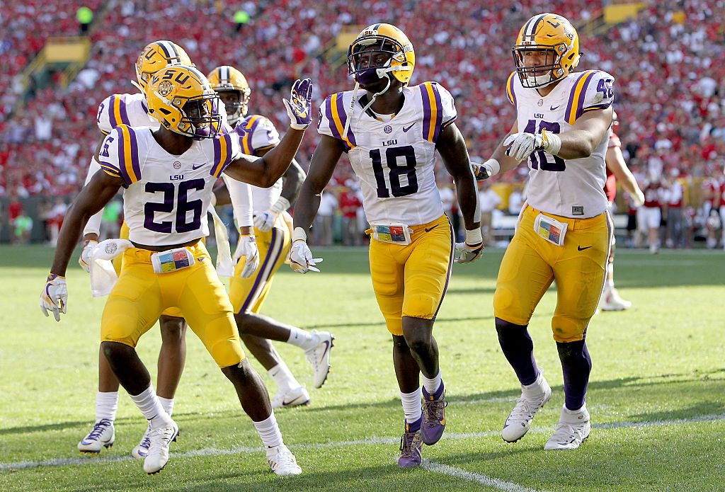 The Bills selected LSU's Tre'Davious White (18) with the 27th overall draft pick Thrusday night. (Getty Images)