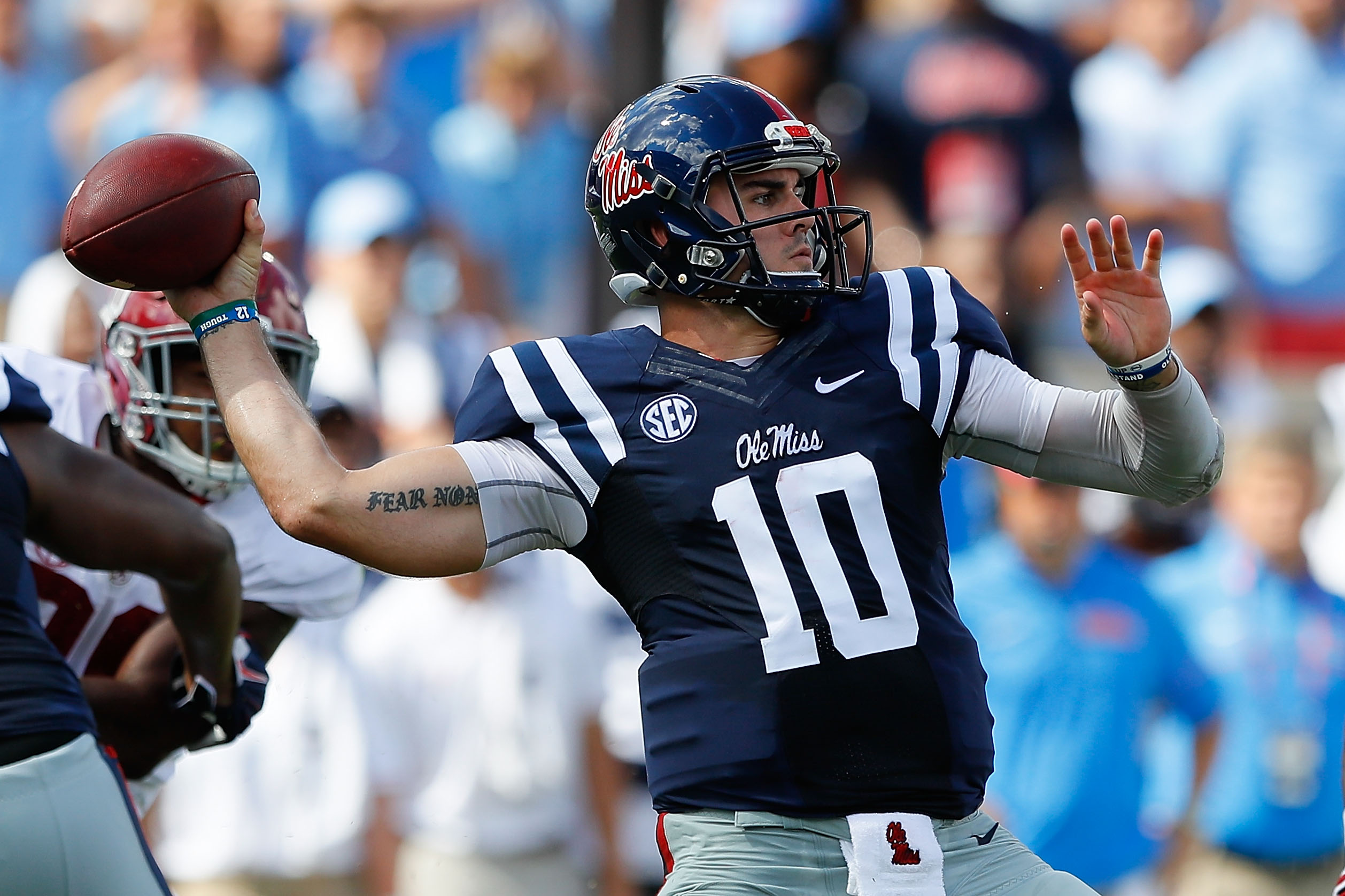 Ole Miss quarterback Chad Kelly might not get drafted because of concerns over both his injury history and off-the-field behavior. (Getty Images)