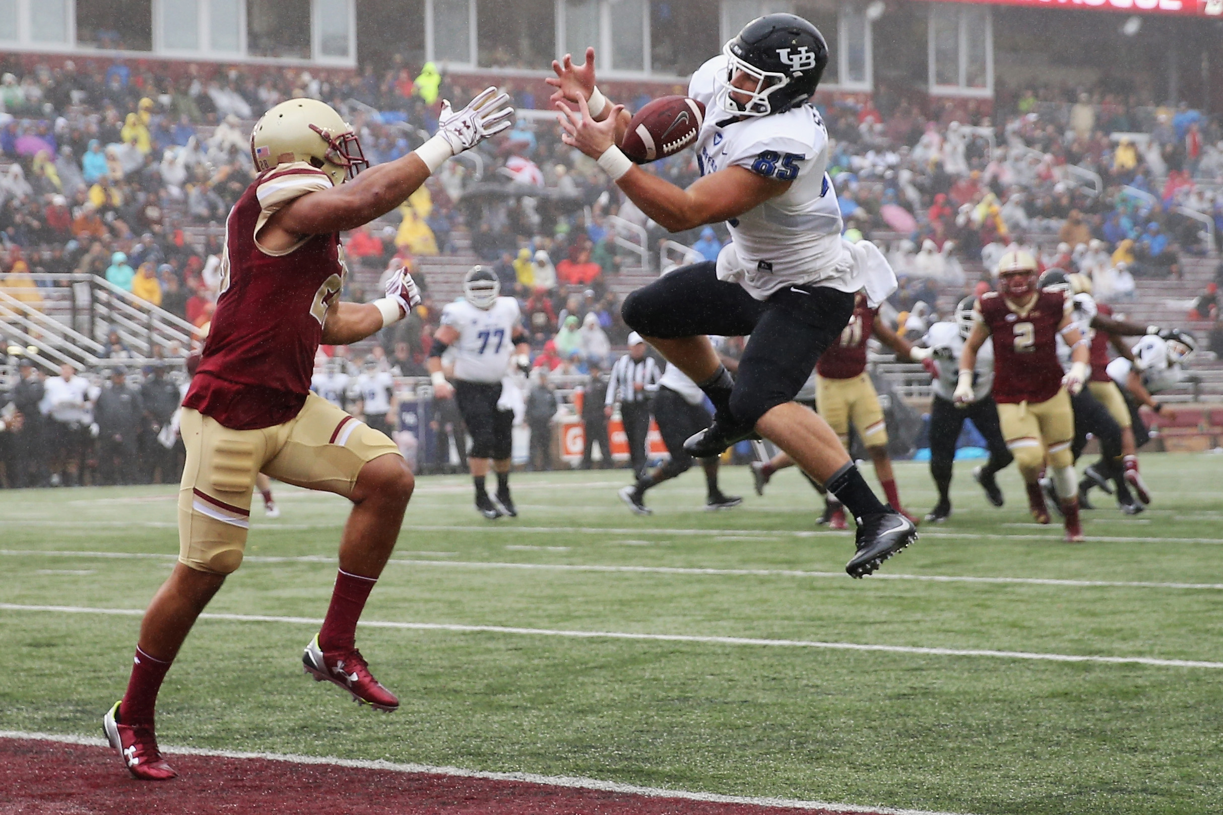 Boston College linebacker Matt Milano, seen here defending in a game against UB,  won the Eagles' MVP award in 2016. (Getty Images)