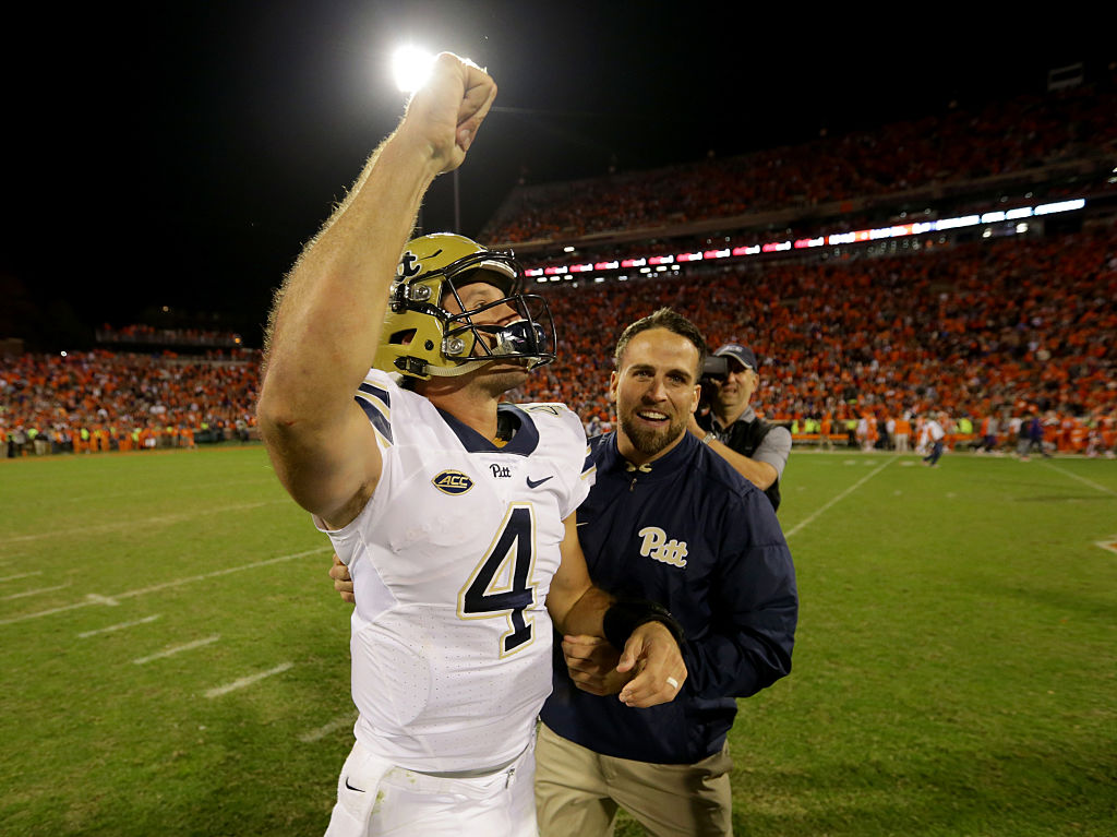 Pitt QB  Nathan Peterman celebrates after defeating the Clemson Tigers 43-42 during their game at Memorial Stadium on November 12, 2016 in Clemson, South Carolina.  (Getty Images)