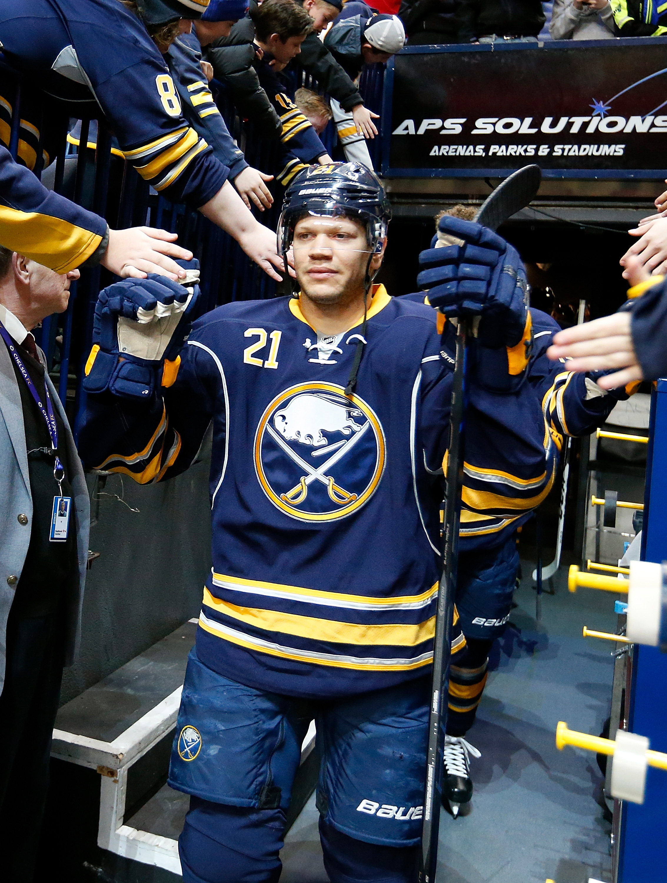 Kyle Okposo has been sick and away from the Sabres since March 28. (Getty Images)