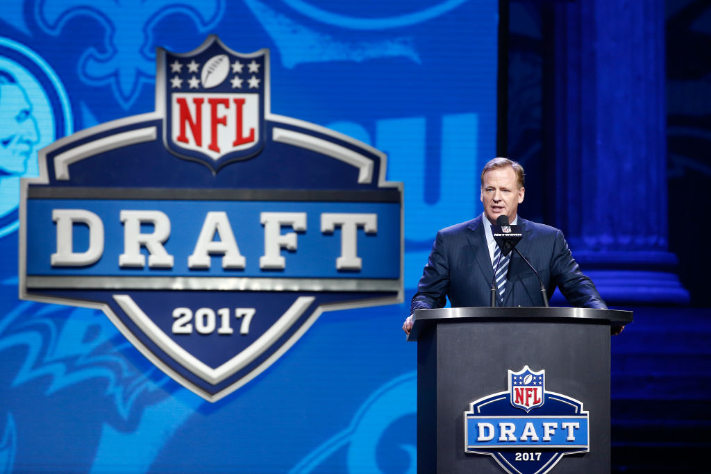 Commissioner of the National Football League Roger Goodell speaks during the first round of the 2017 NFL Draft at the Philadelphia Museum of Art on April 27, 2017 in Philadelphia. (Getty Images)