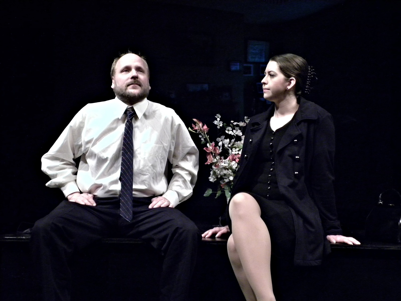 "Ray Boucher and Emily Yancey in ""I'm Fine"" at Alleyway Theatre"