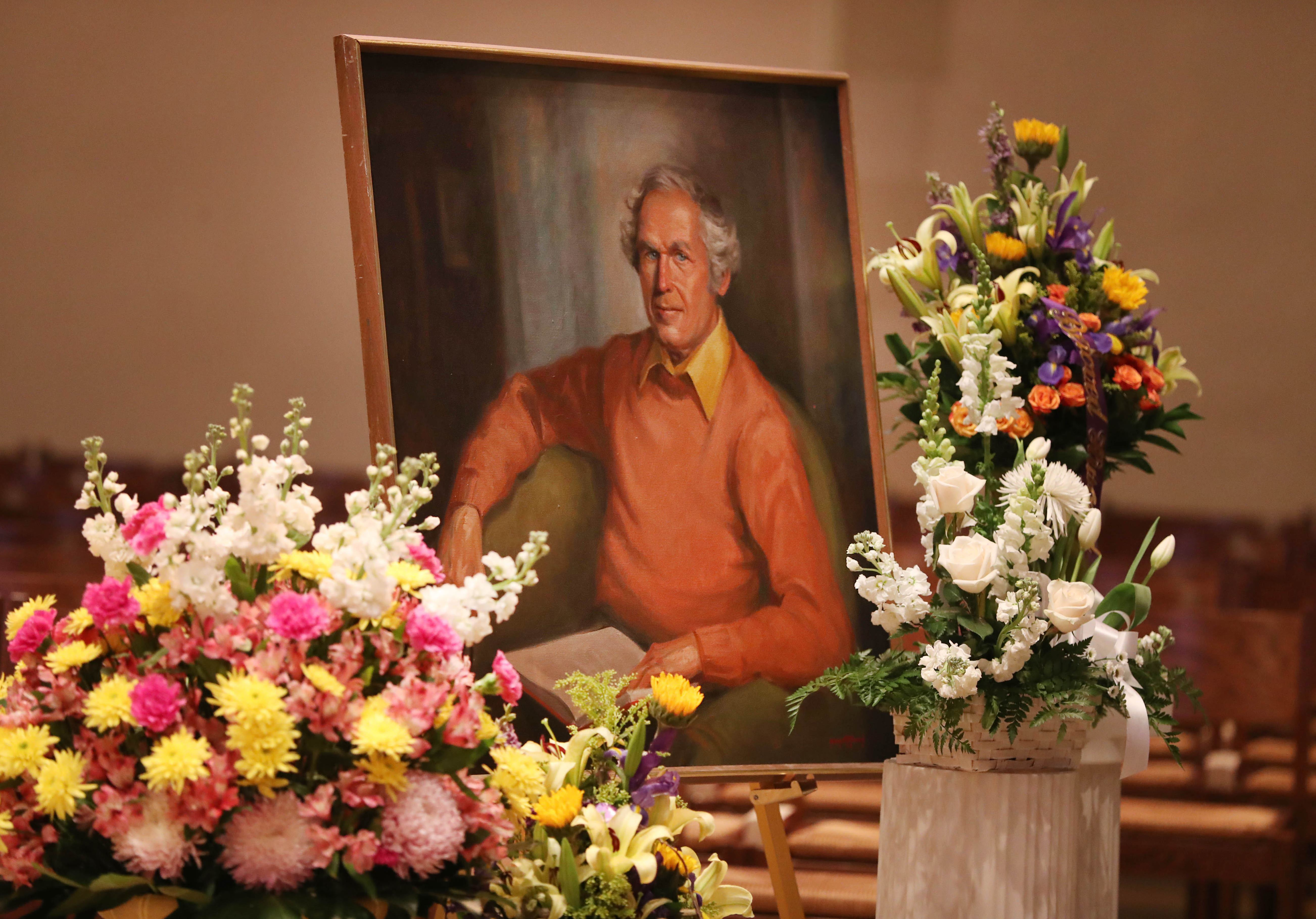 A memorial Mass was held at St. Joseph University Parish on Saturday, April 22, 2017, to celebrate the life of Judge John T. Curtin who passed away on April 14.  A painting of Judge Curtin is displayed up front.  (Sharon Cantillon/Buffalo News)