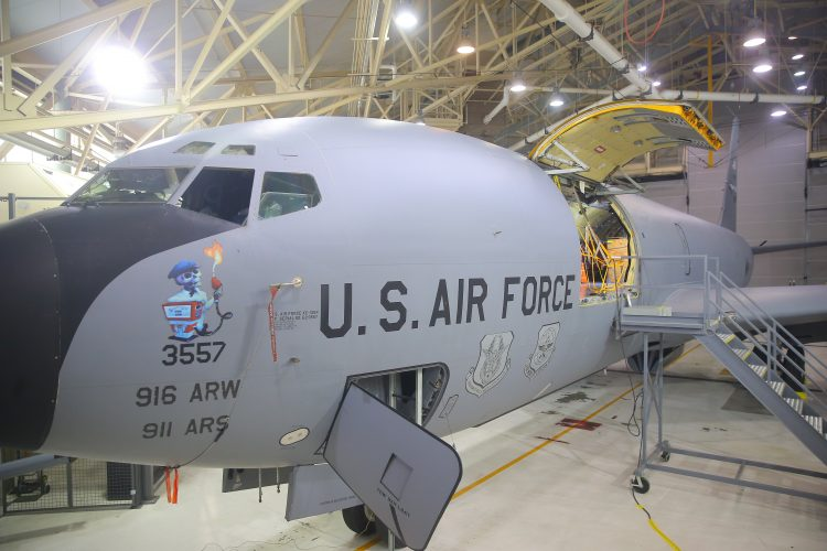 A KC-135 Stratotanker in a hangar at the Niagara Falls Air Reserve Station  in Niagara Falls in February 2017. (John Hickey/Buffalo News)