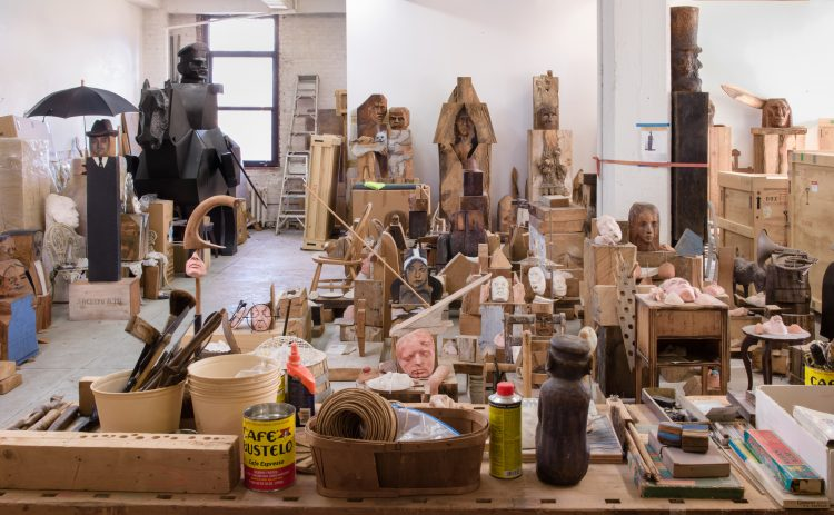 Marisol's New York City studio, shown here in a recent photograph by Jason Mandella, served as a storage space for many of her favorite works.