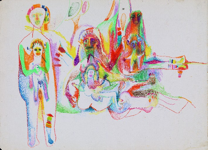 An untitled 1959 drawing by Marisol is part of a major bequest from the artist to the Albright-Knox Art Gallery.