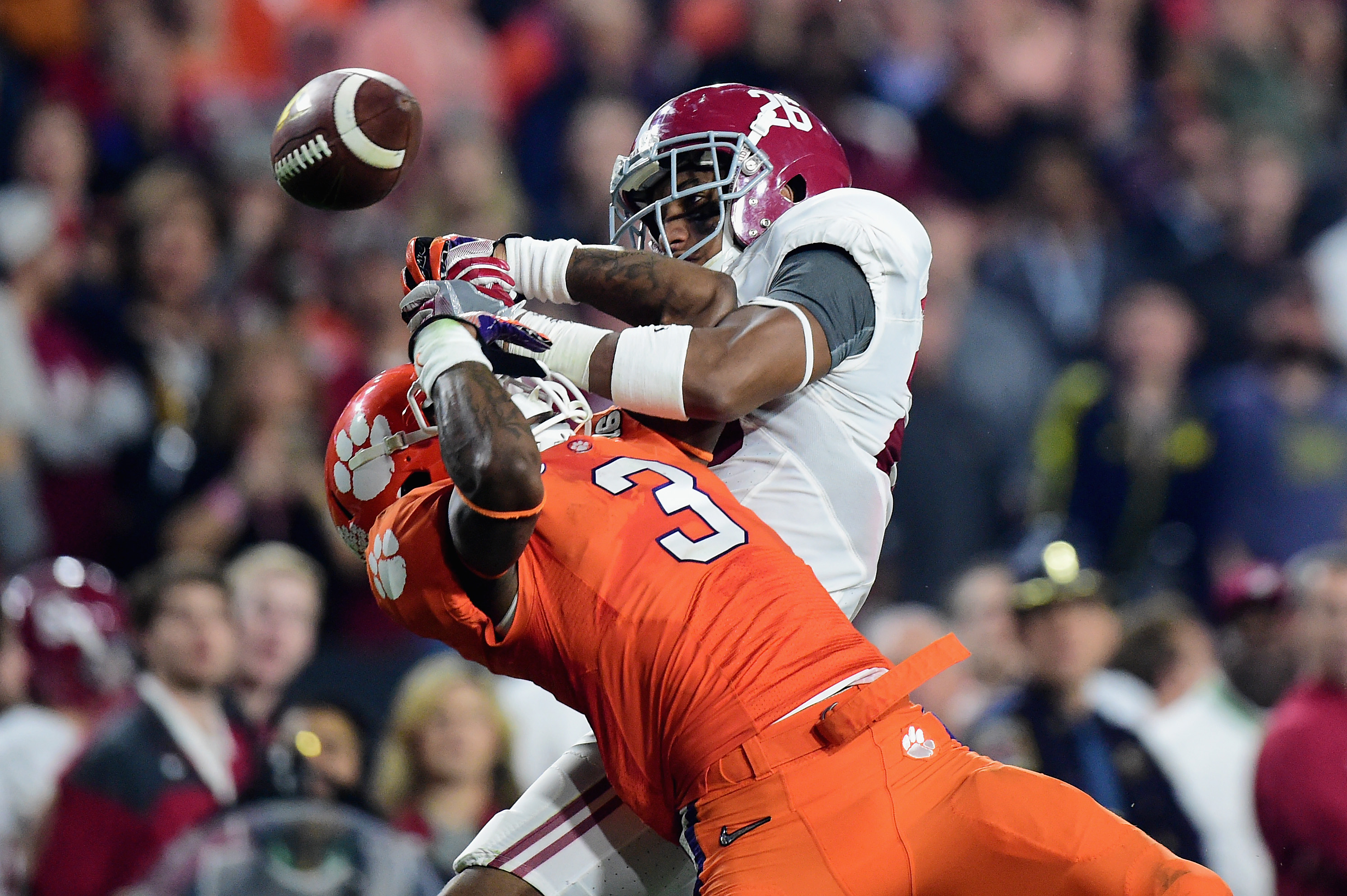 Marlon Humphrey of Alabama breaks up a pass for Clemson's Artavis Scott in the 2016 National Championship Game. (Photo by Harry How/Getty Images)