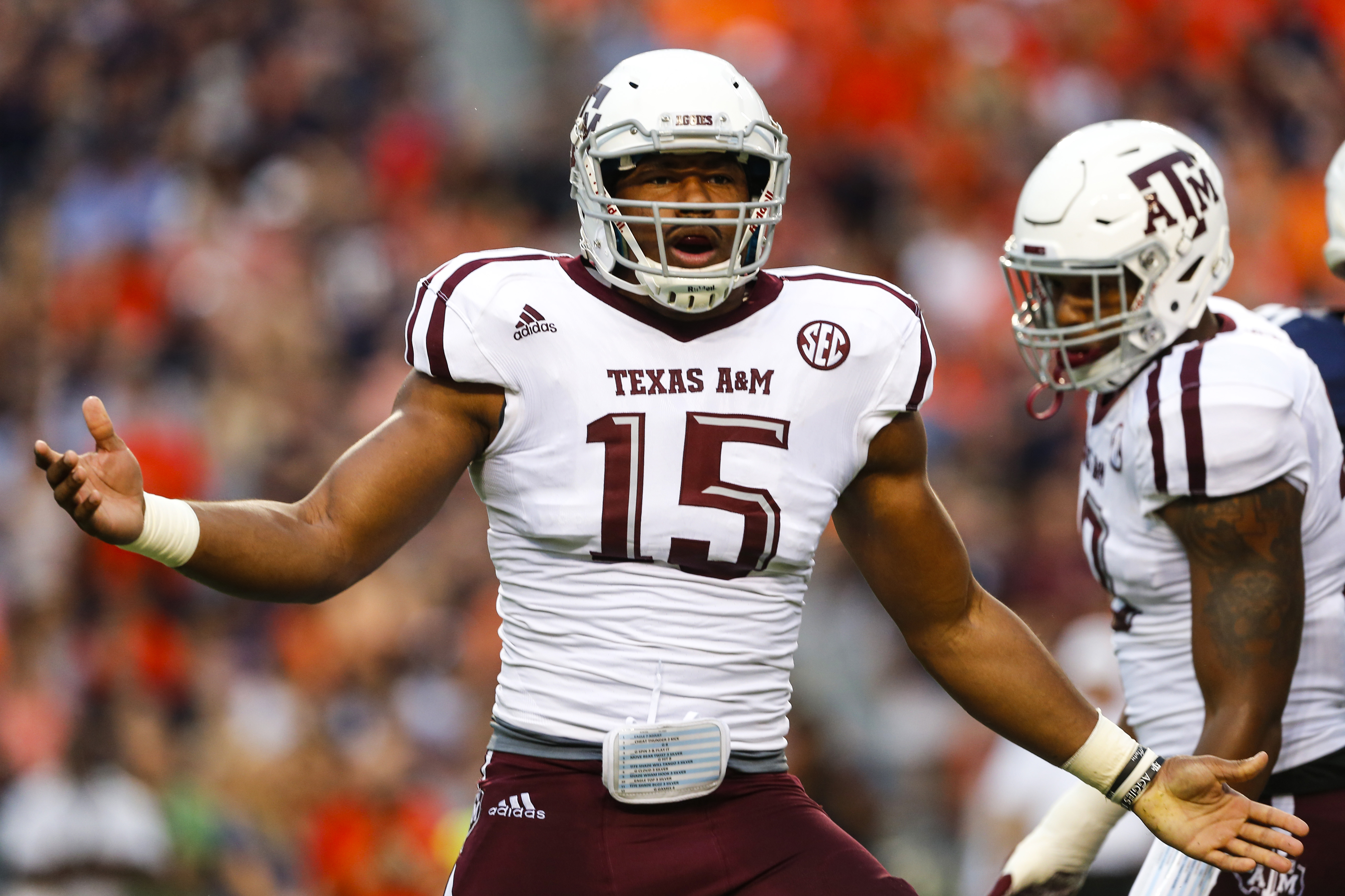 Defensive lineman Myles Garrett of Texas A&M celebrates after a sack. (Photo by Butch Dill/Getty Images)