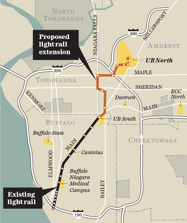 An NFTA map showing the proposed light rail extension into Amherst.