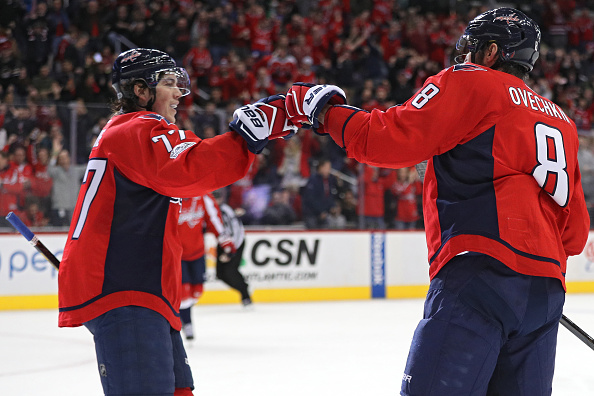 Alex Ovechkin (8) has plenty of help for a playoff run this year from the likes of T.J. Oshie (Getty Images).