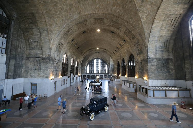 The main concourse of the Central Terminal, which featured an antique car show on June 25, 2016. (Sharon Cantillon/Buffalo News)