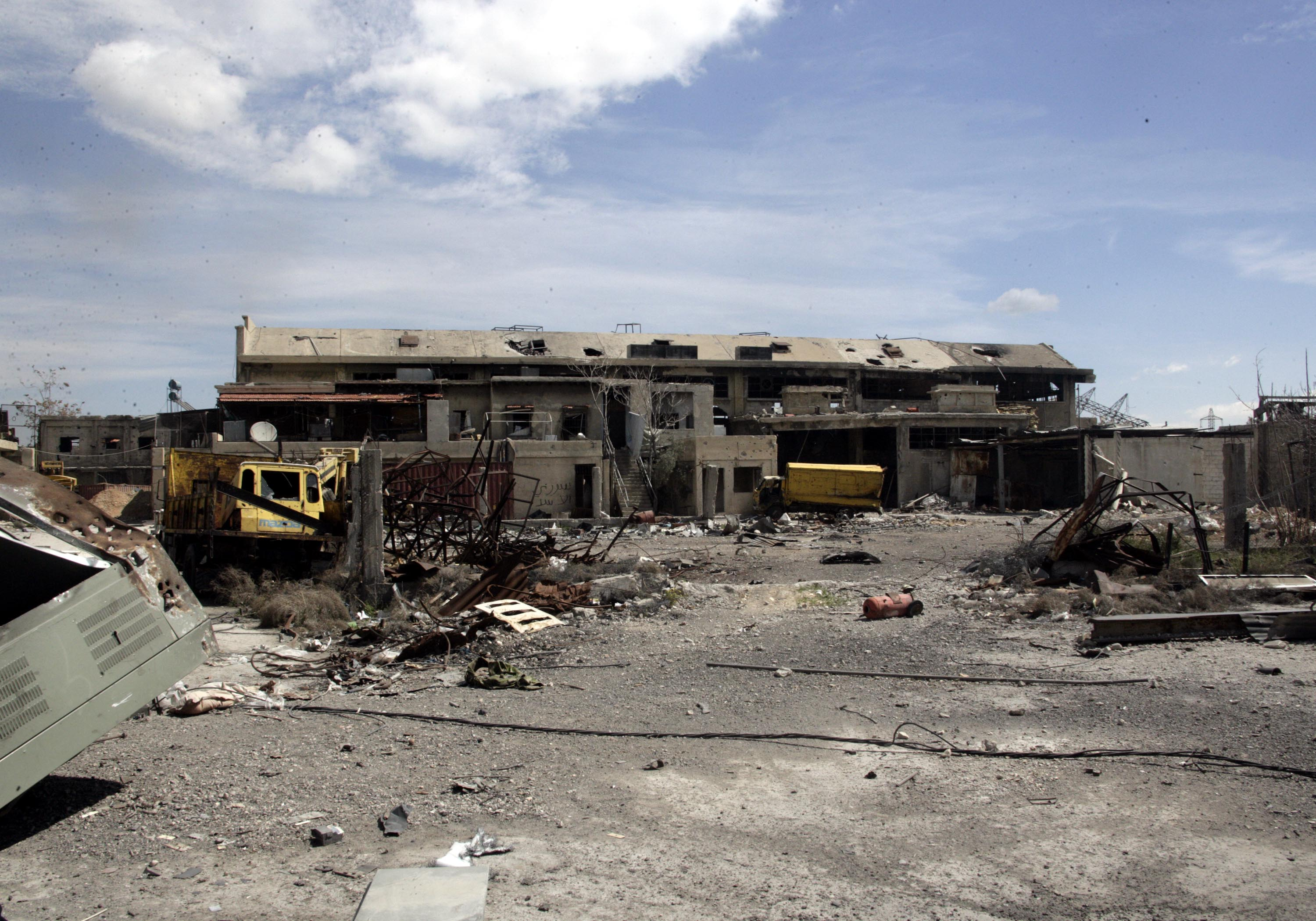 Photo taken on March 20, 2017, shows a scene of destruction at the Abassyieen bus station in the east of Damascus, capital of Syria, as rebel forces apply pressure forces loyal to President Bashar Assad. (Ammar Safarjalani/Xinhua/Sipa USA/TNS)
