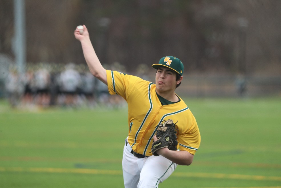 Williamsville North's Anthony DeMaria picked up the win on the mound as the Spartans stopped Williamsville East on Monday. (James P. McCoy / Buffalo News)