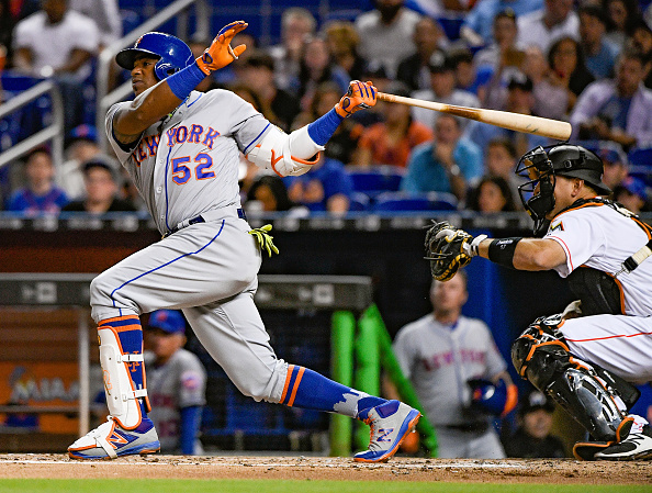Yoenis Cespedes hit five homers in a three-game stretch, including two in the Mets' 16-inning win Thursday in Miami (Getty Images).