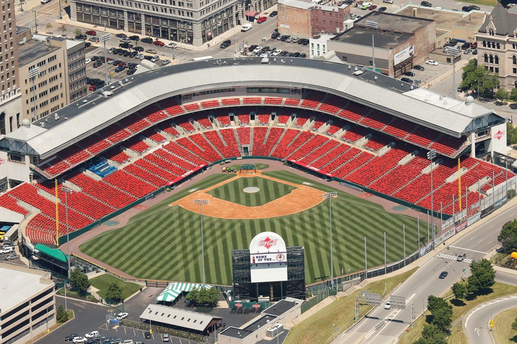 An aerial view of Coca-Cola Field. Peter Nowak played a significant role in the way the trendsetting ballpark was built to fit the city around it. (Mark Mulville/Buffalo News). (Derek Gee/Buffalo News)