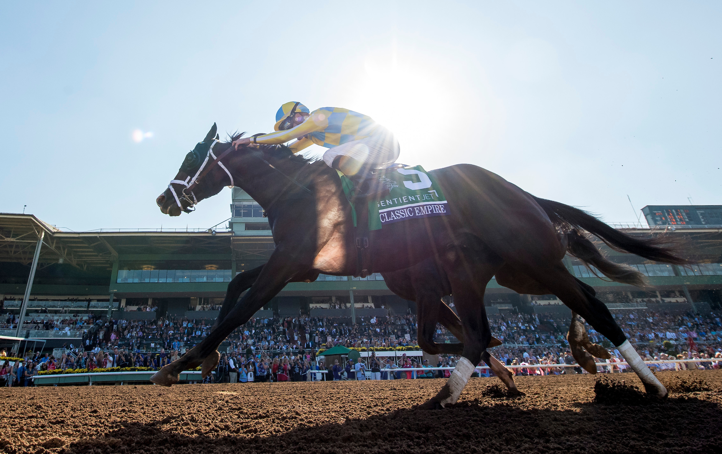Classic Empire #5, ridden by Julien Leparoux, wins the Breeders' Cup Juvenile  at Santa Anita Park in November. (Photo by Alex Evers/Eclipse Sportswire/Breeders Cup)