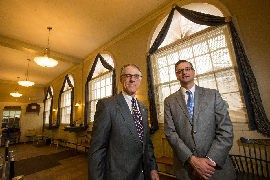 E. Peter Forrestel II (left) handed off the duties of president and CEO to Anthony J. Delmonte Jr. (Derek Gee/Buffalo News)