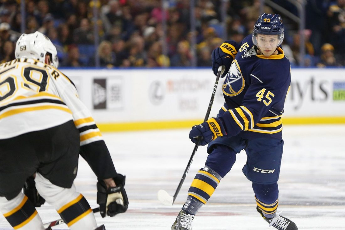 Brendan Guhle looked good during his NHL debut with the Sabres in December. (Mark Mulville/Buffalo News)