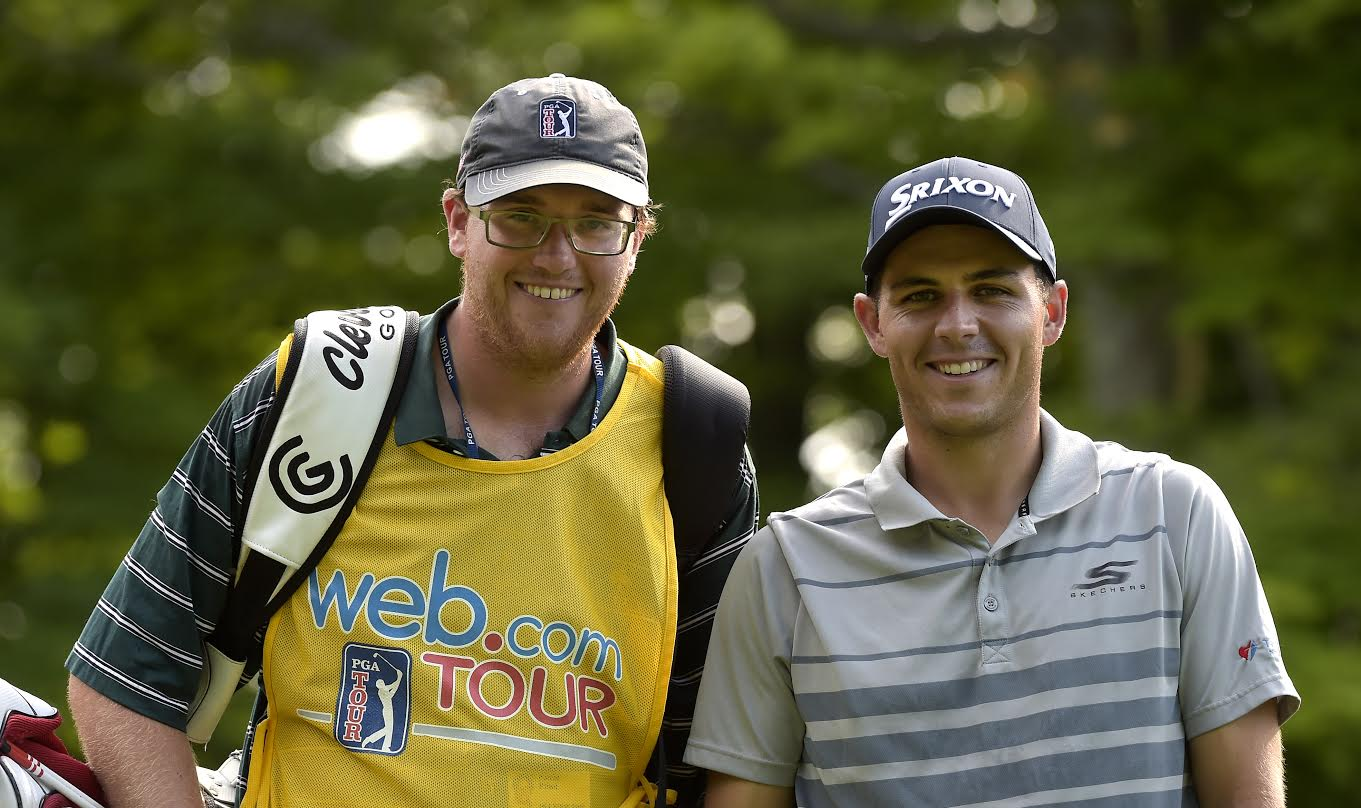 Kevin Prise, left, caddies for Matt Atkins at the Lecom Health Challenge, a Web.com Tour event held in July 2016 at Peek N' Peak resort in Clymer. (Photo by Stan Badz/PGA Tour)