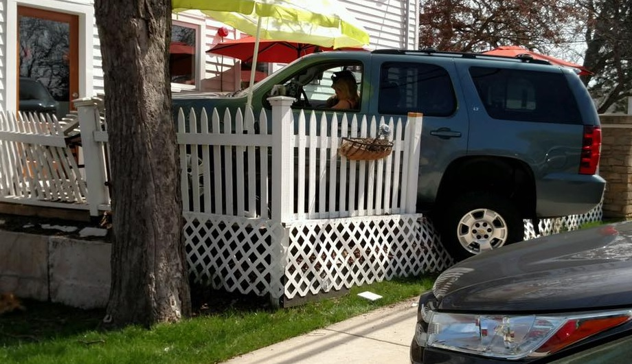An SUV driver crashed into the patio of a Center Street business on Thursday. No one was hurt. (Lewiston Police)