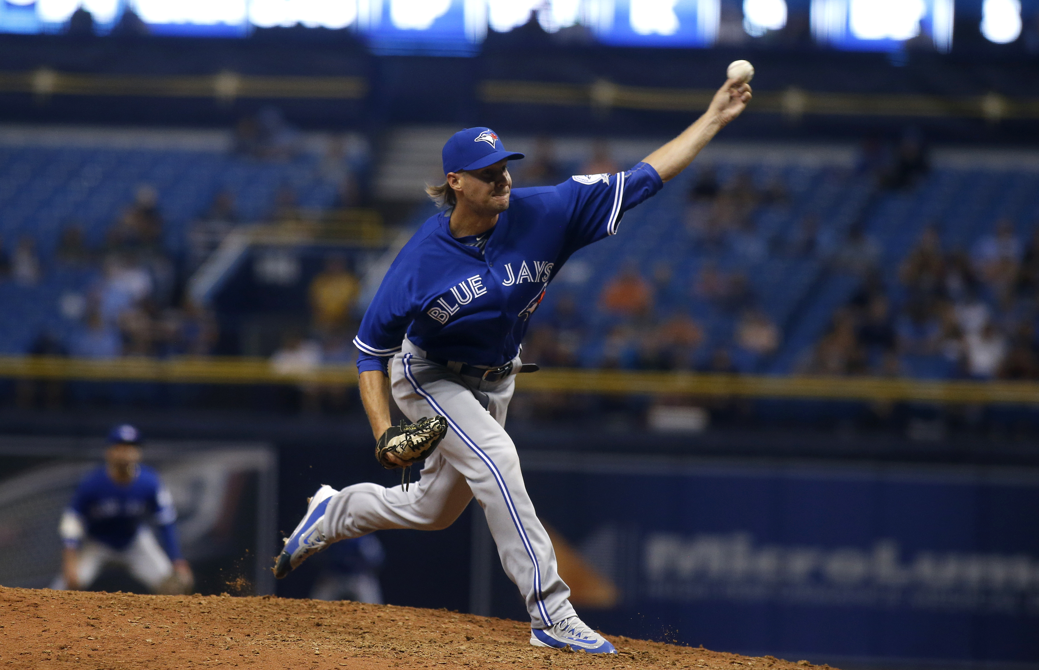 Matt Dermody made his MLB debut with the Toronto Blue Jays on Sept. 3, 2016 at Tropicana Field in St. Petersburg, Florida. (Getty Images)