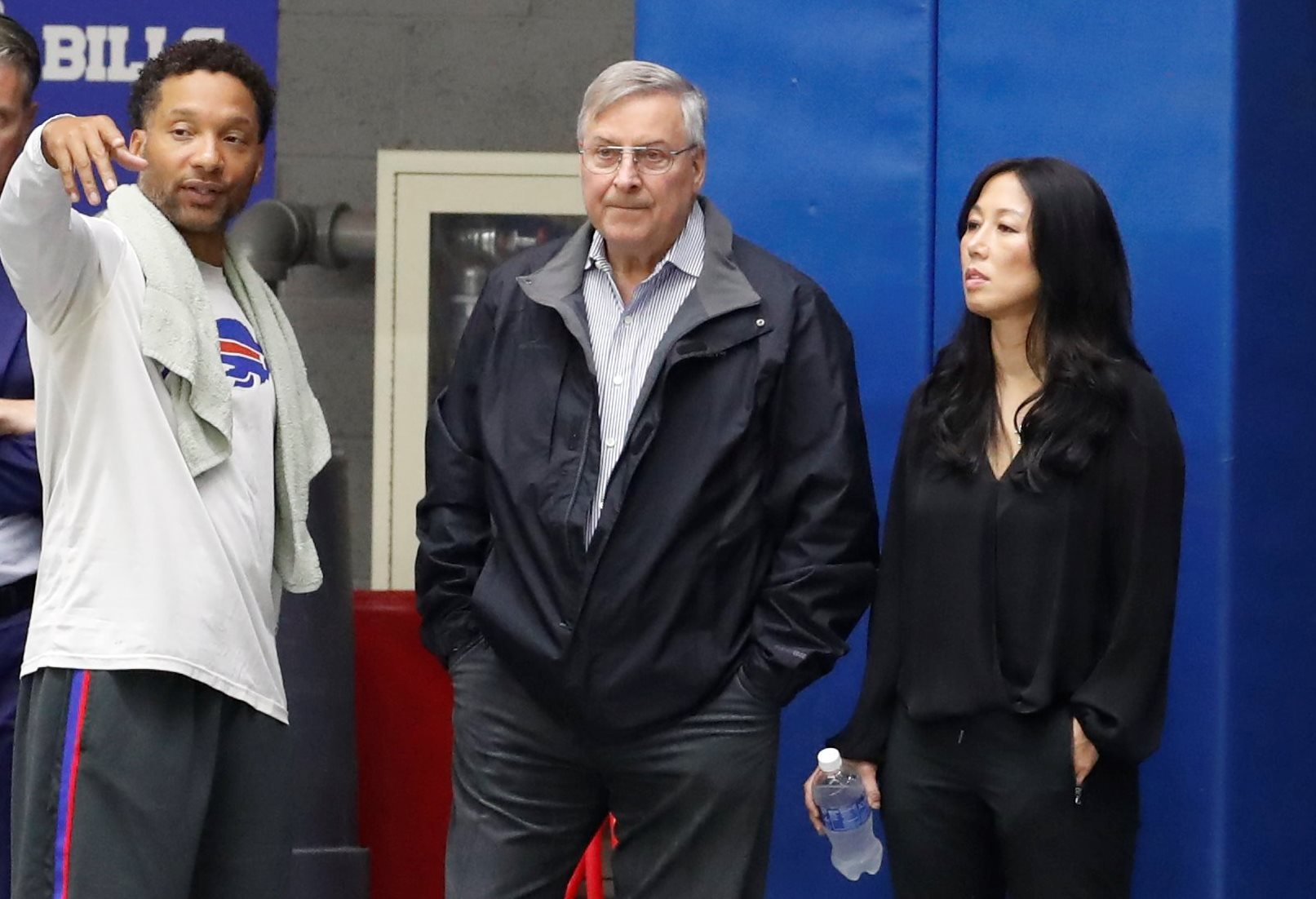 Bills GM Doug Whaley speaks with owners Terry and Kim Pegula during practice on Thursday, April 20, 2017. (Harry Scull Jr./Buffalo News)