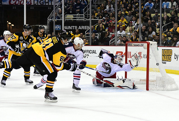 Phil Kessel (81) and the Pens will be trying to beat Columbus goalie Sergei Bobrovsky during the teams' first-round playoff series (Getty Images).