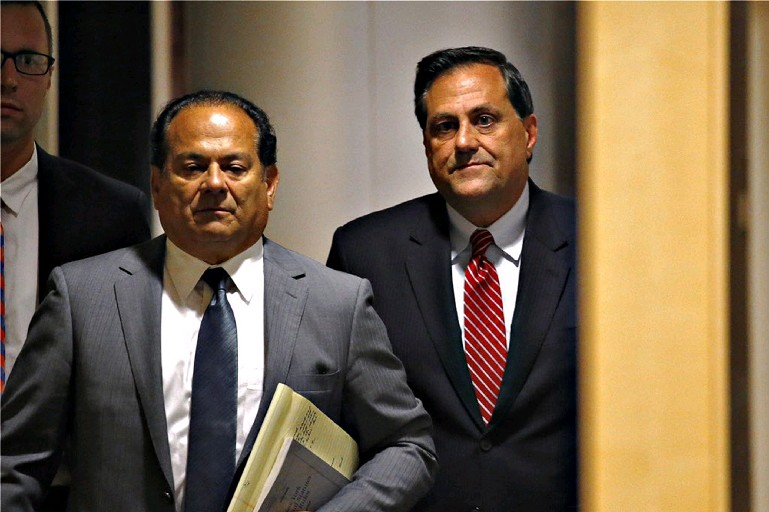 Political operative G. Steven Pigeon, right, shown here with defense attorney Paul Cambria, faces allegations he illegally funded local election campaigns. (Derek Gee/Buffalo News file photo)