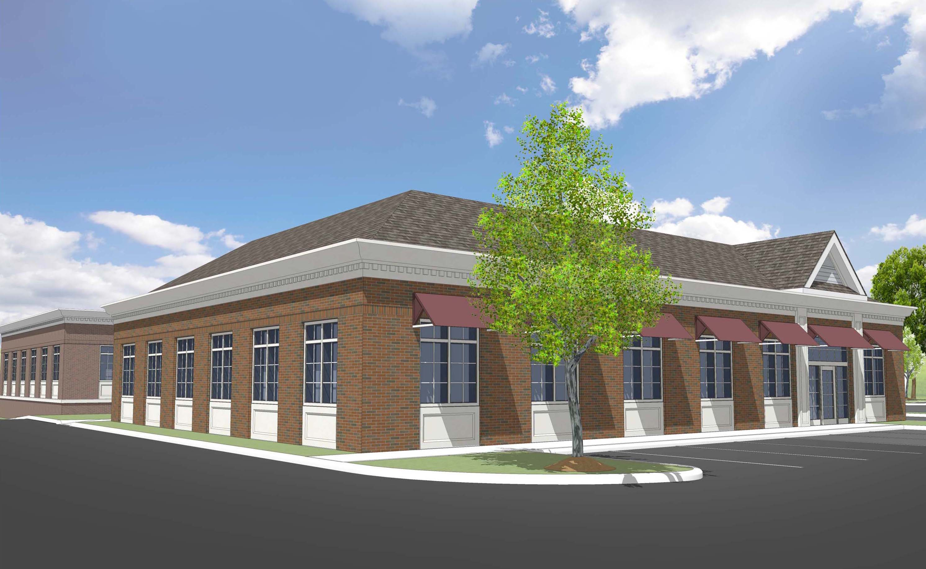 An artist's rendering of the new radiation oncology center under construction in Orchard Park.