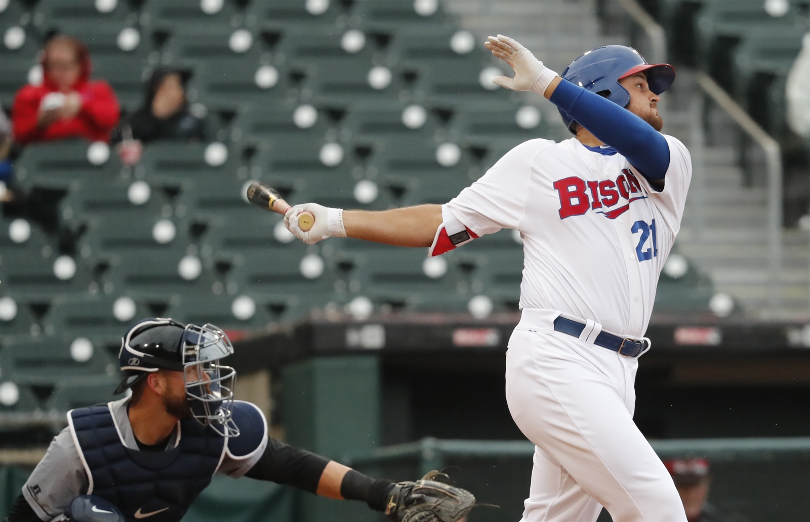 Rowdy Tellez, one of the top prospects for the Toronto Blue Jays, is having another difficult April. (Harry Scull Jr./Buffalo News)