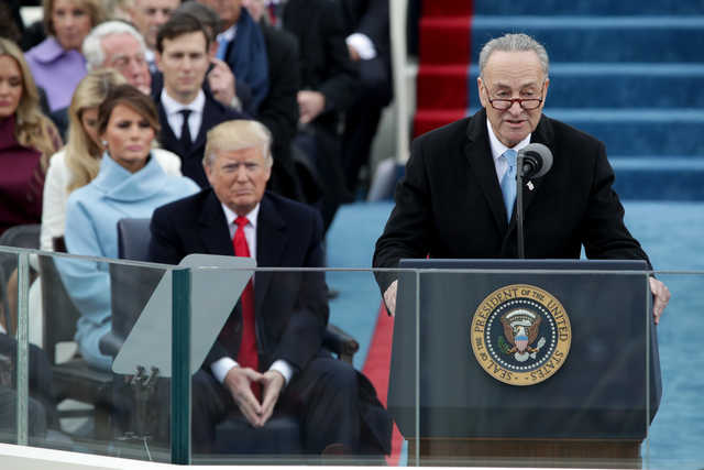 Senate Minority Leader Charles E. Schumer, seen here at President Trump's inauguration, looks like the winner in recent budget negotiations.