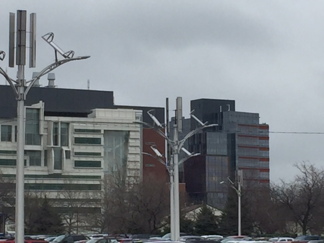 Solar, wind-powered lights are installed at 589 Ellicott St. in a parking lot on the Medical Campus in Buffalo. (Karen Robinson)