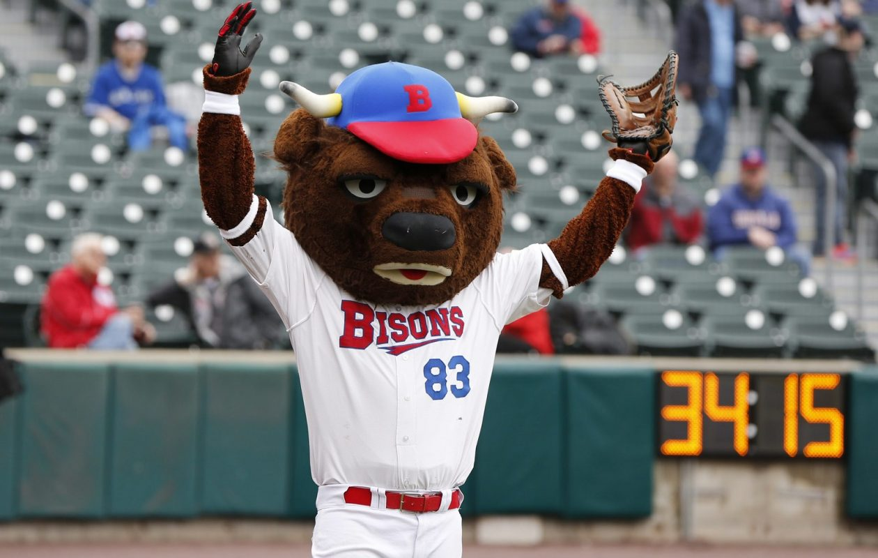 The mascot for the Buffalo Bisons baseball team. (Harry Scull Jr./Buffalo News)