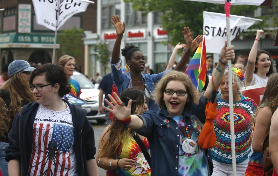 Students from high school Gay-Straight Alliances march in the 2016 Buffalo Gay Pride Parade along Elmwood Avenue. (Robert Kirkham/Buffalo News)