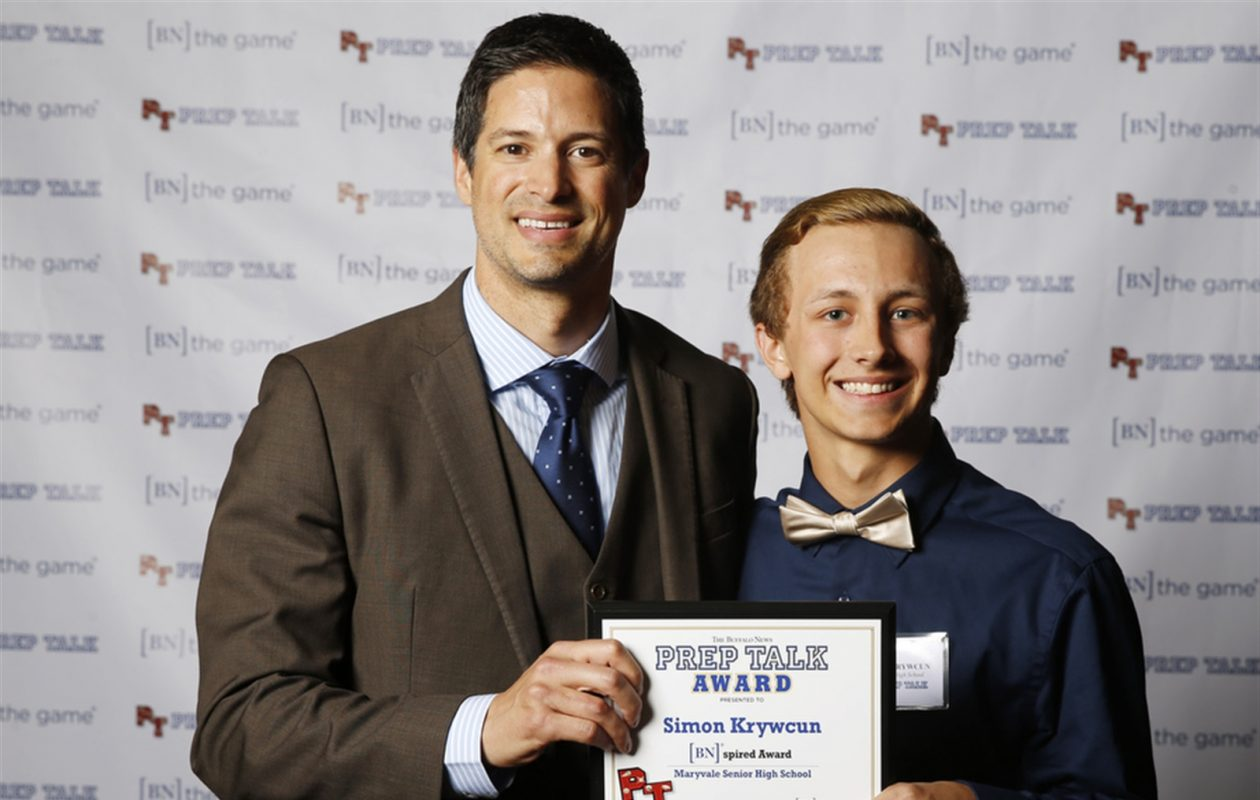 Steve Mesler, Olympic Gold Medalist & World Champion in the Bobsled, is pictured with Simon Krywcun, the [BN]spired Award winner at the third annual Prep Talk Awards on June 15, 2016. (Harry Scull Jr./Buffalo News)