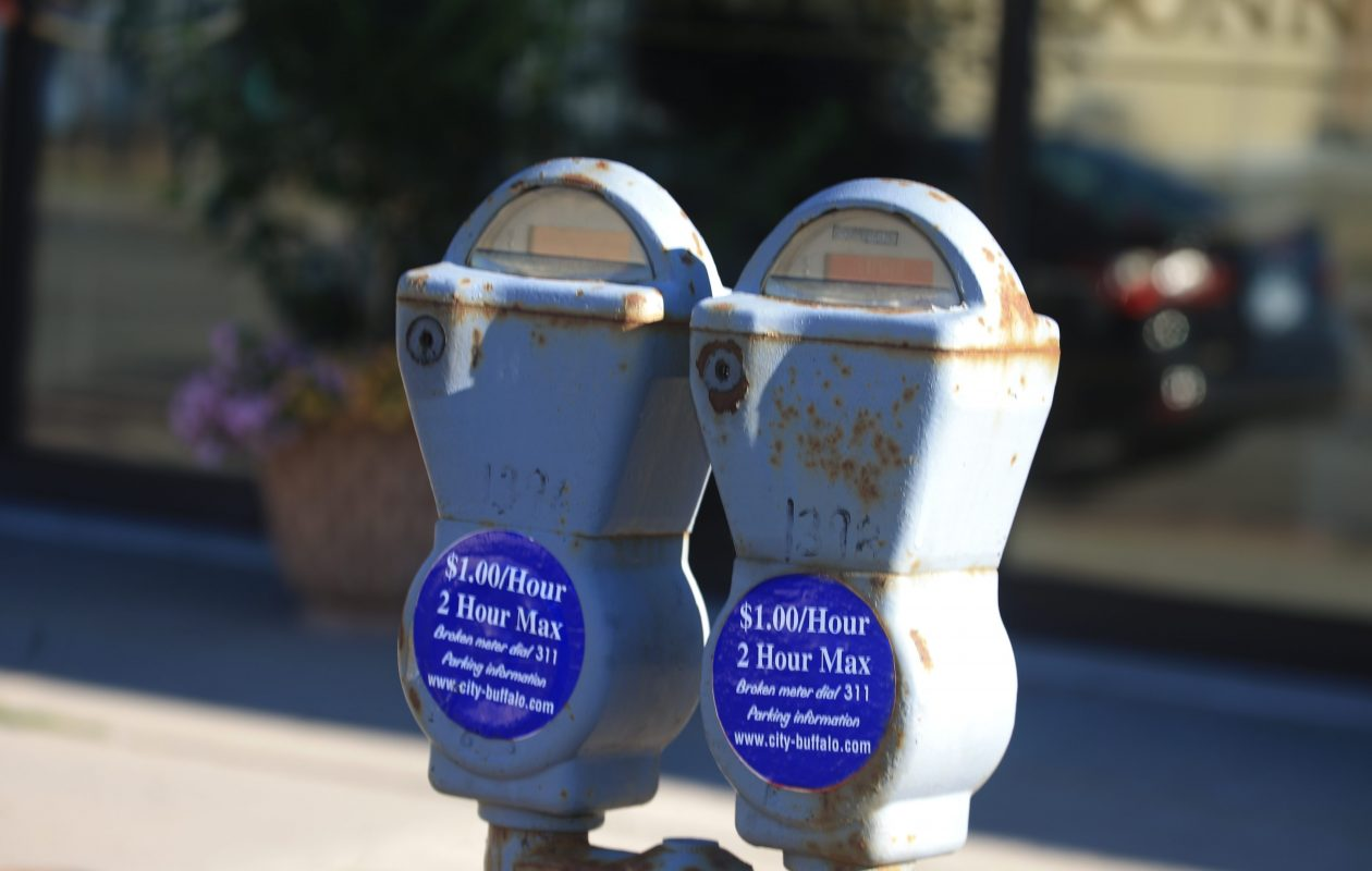 Traditional parking meters on Hertel Avenue. (John Hickey/Buffalo News)
