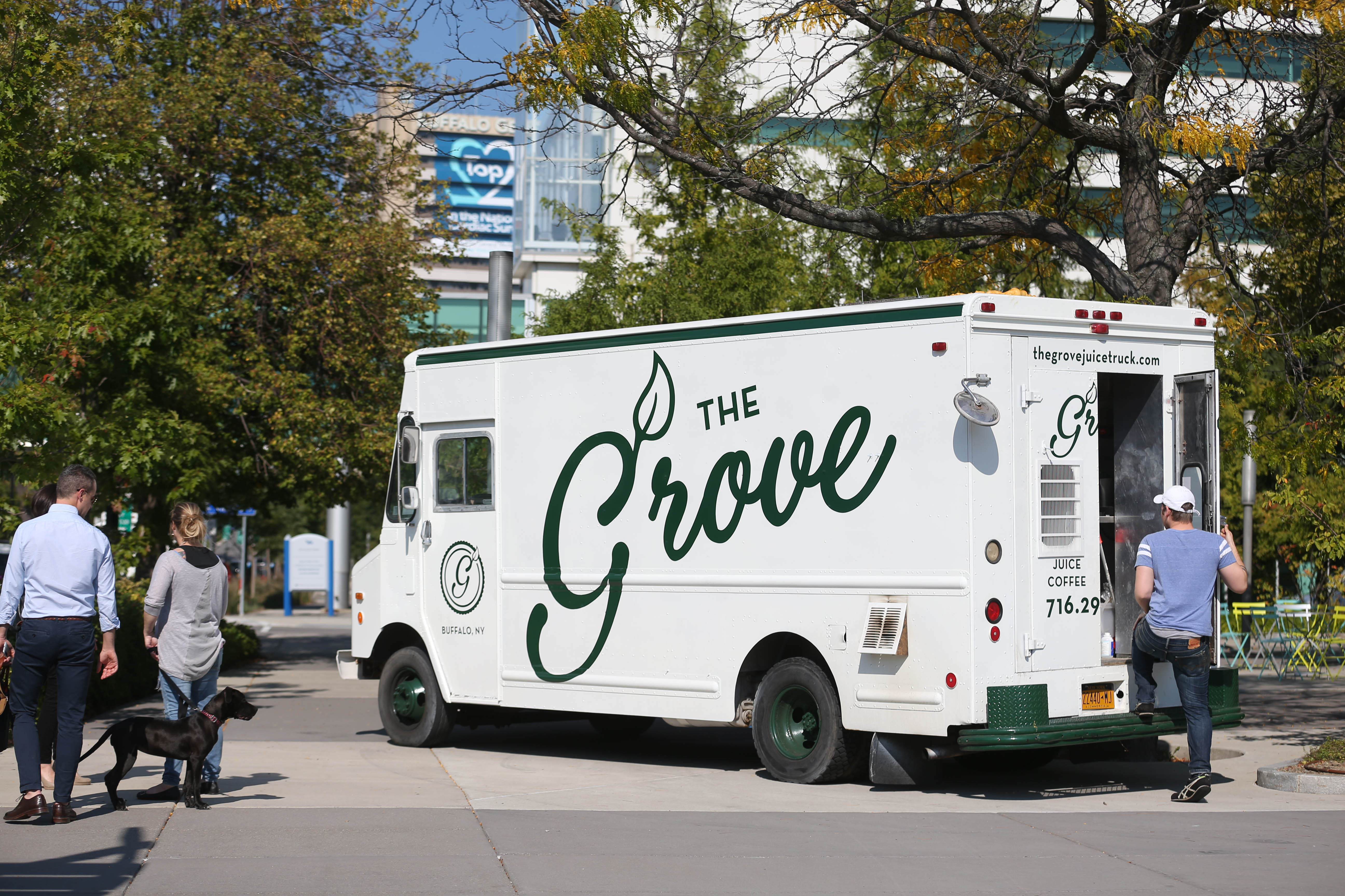 The Grove, shown here parked on Ellicott Street in October, is a healthy option food truck on the Medical Campus.    (Sharon Cantillon/Buffalo News file photo)