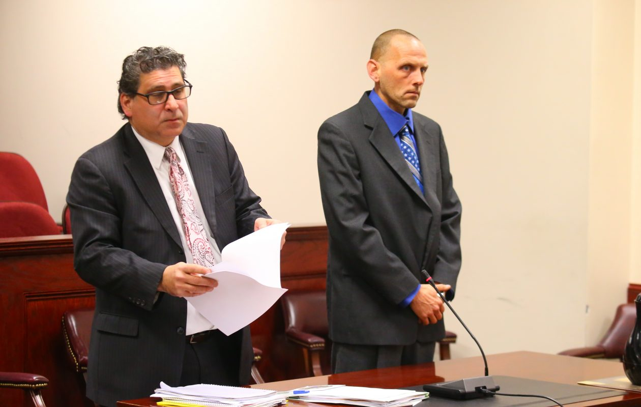 Matthew W. Jurado, right, with his attorney Charles F. Pitarresi, pleaded guilty as charged to second-degree arson and will be going to state prison. (News file photo)
