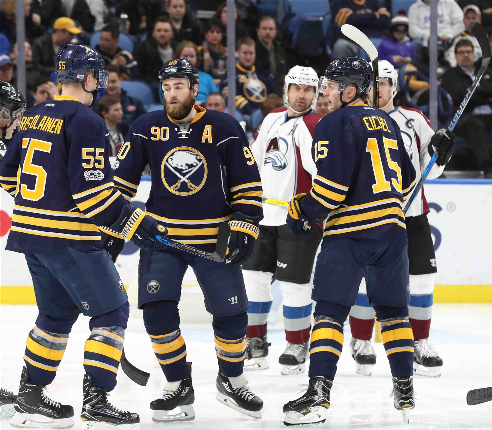 Ryan O'Reilly (90) and Jack Eichel, right, started their world championship experience Tuesday. (James P. McCoy/Buffalo News)