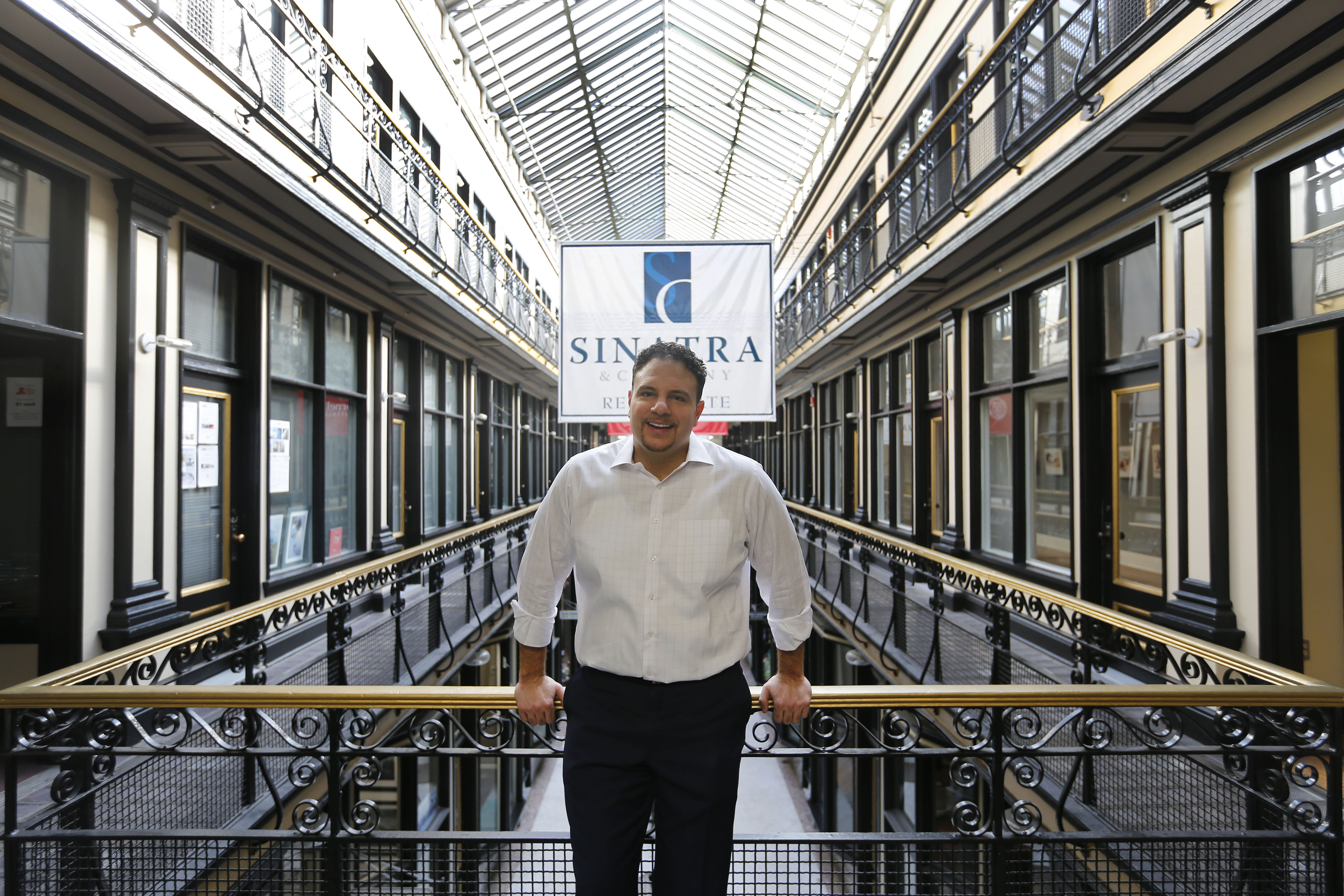 Nick Sinatra at the Market Arcade Building, which he owns, in Buffalo Tuesday, February 14, 2017.       (Mark Mulville/Buffalo News)