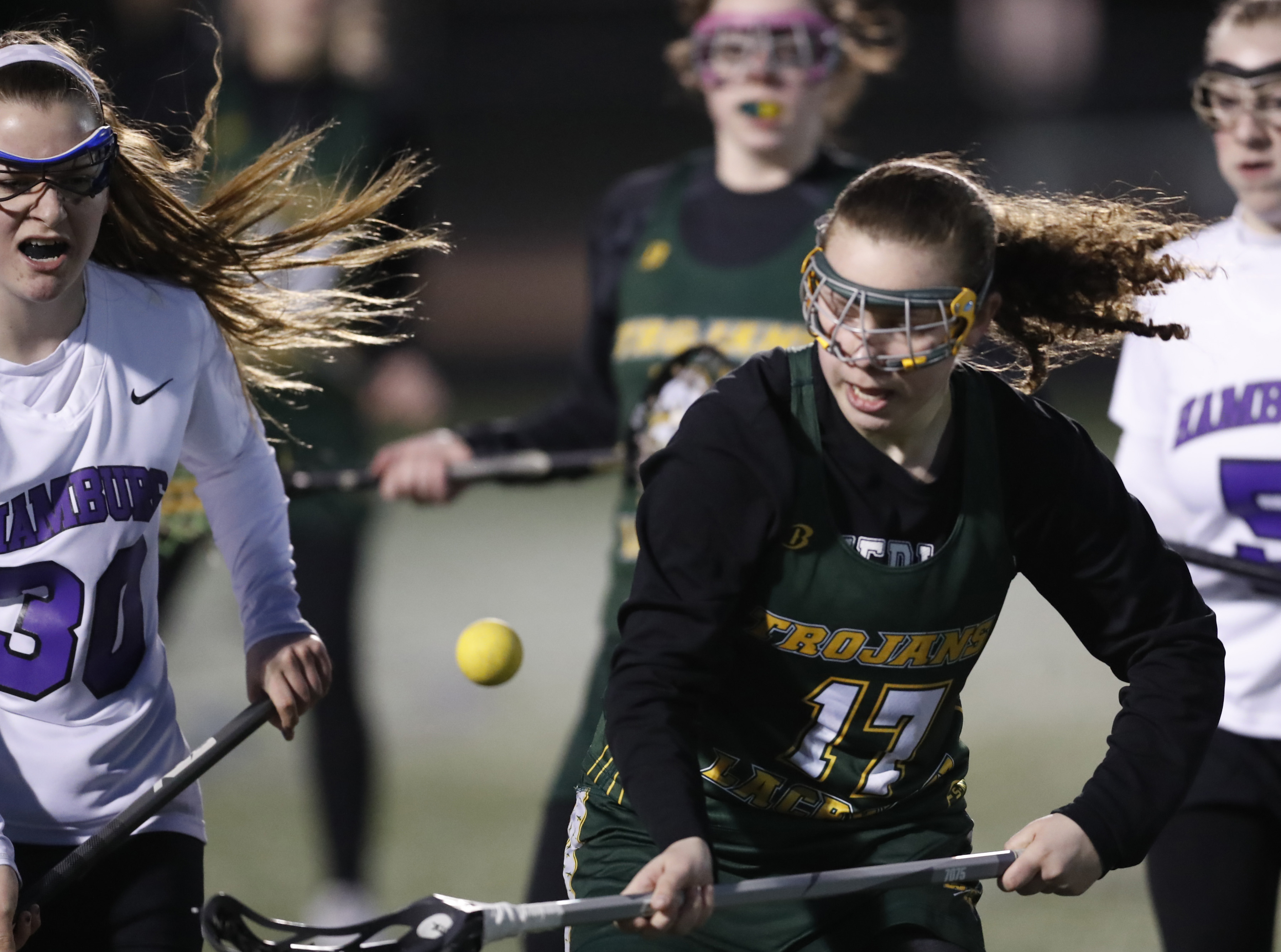 Hamburg's Meagan Maxwell and West Seneca East's Kaira Patterson look to lead their respective teams to Section VI finals in different classifications a year playing each other for the Class B crown. (Harry Scull Jr./Buffalo News)