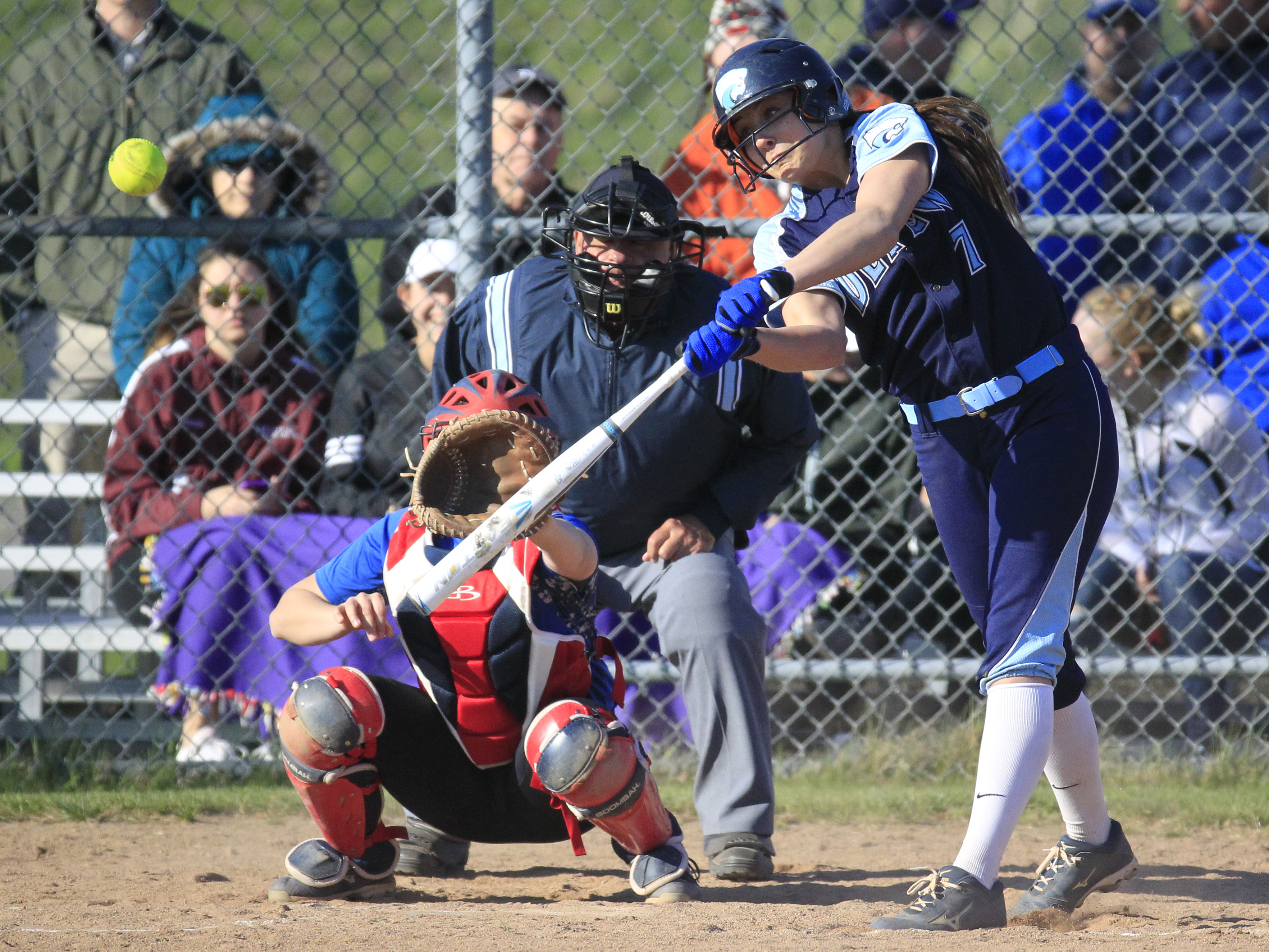 Depew's Karsen Cotton likes batting in the lead-off spot for top-ranked small school. (Harry Scull Jr./Buffalo News)