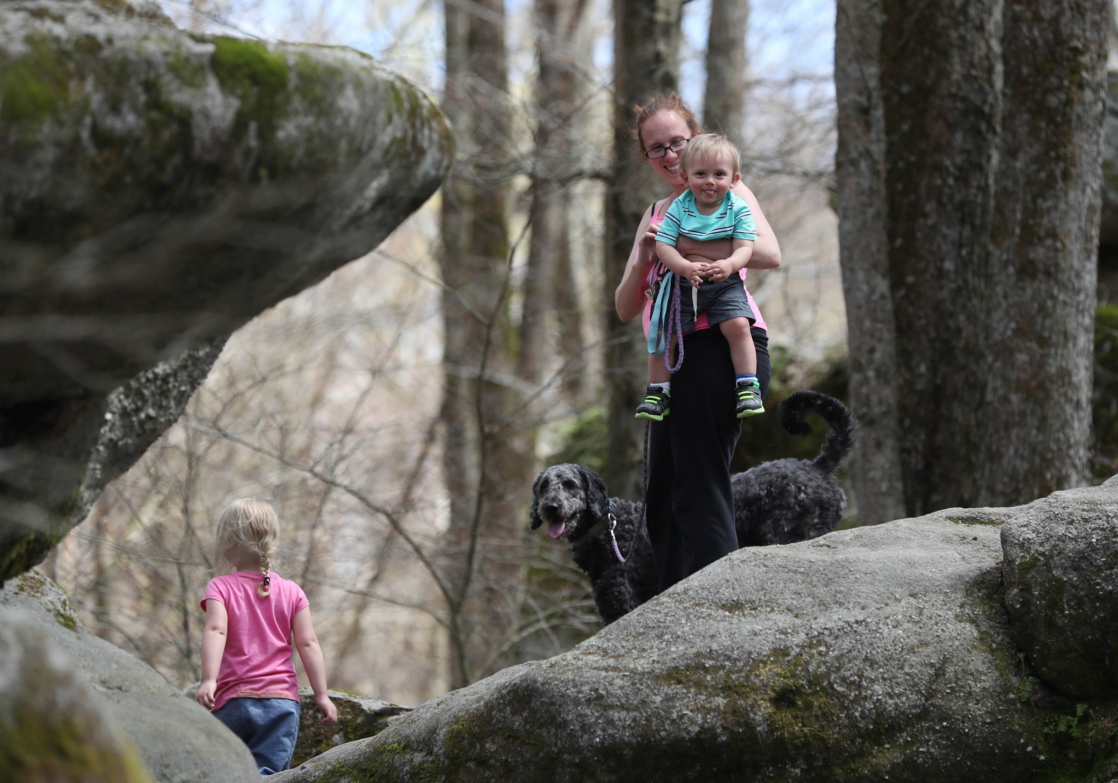 Nancy Beeler, of Jamestown, brings her daughter Jaden, 3, son Matthew, 1, and golden doodle Lily to Allegany State Park. (Sharon Cantillon/Buffalo News)