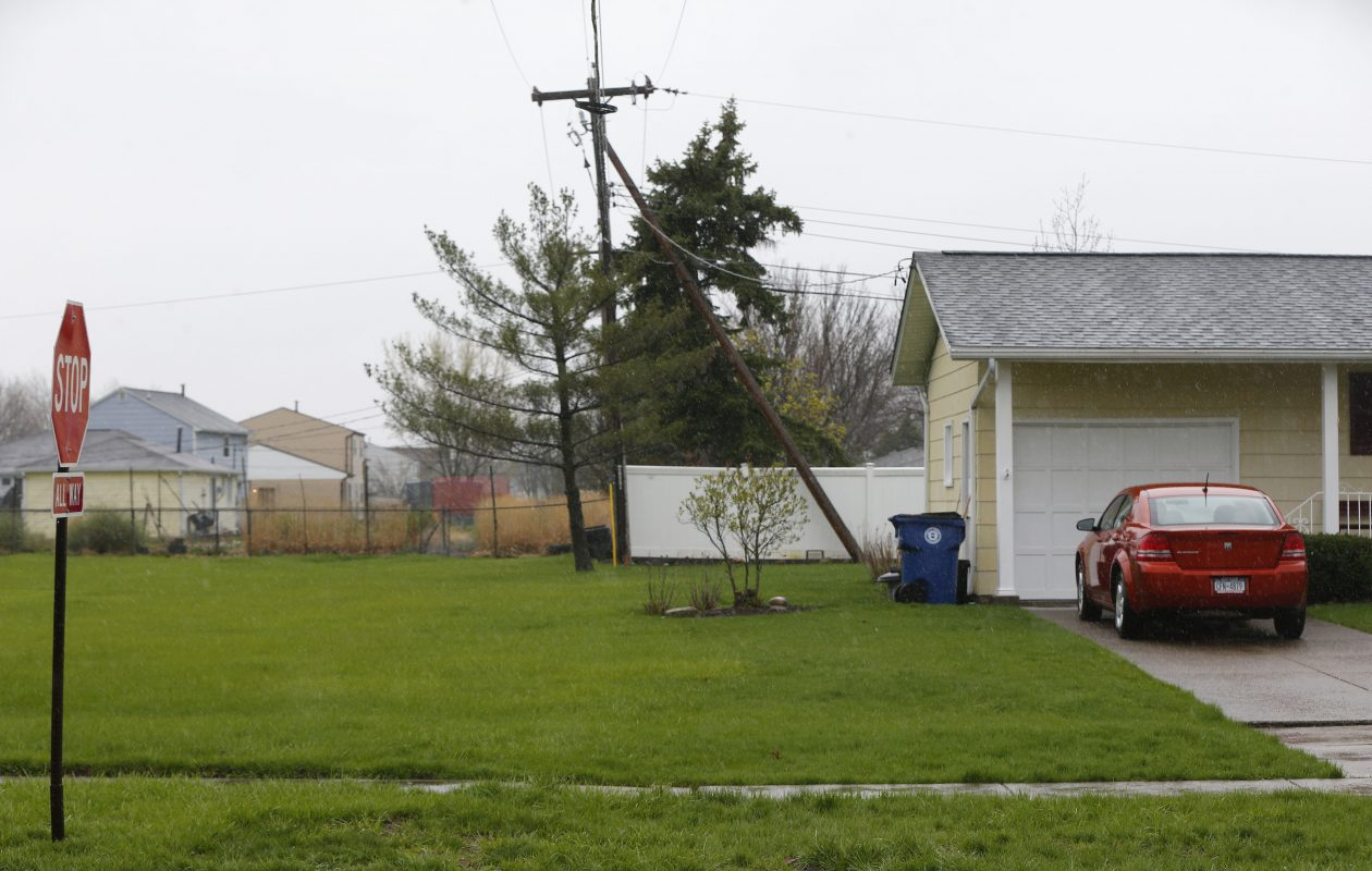 The area where the proposed pole would be placed across the street from Willow Ridge Elementary in Amherst Thursday , April 20, 2017.         (Mark Mulville/Buffalo News)